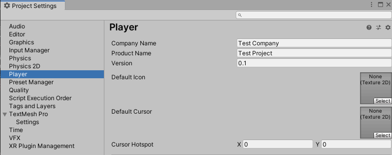 Setting up Player in project settings
